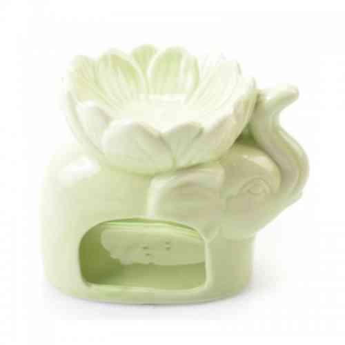 Ceramiczny kominek do aromaterapii SŁOŃ zielony