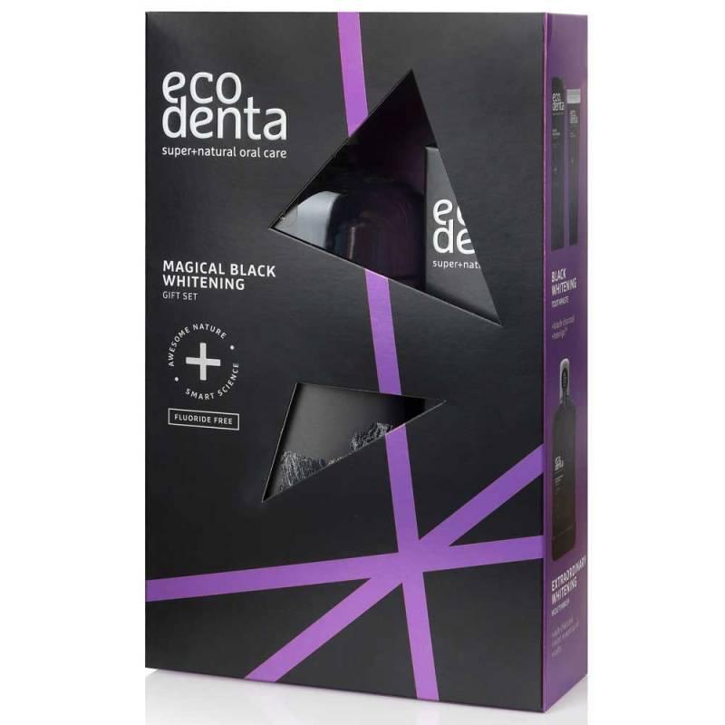 Czarny magiczny zestaw WYBIELAJĄCY z aktywnym węglem do higieny jamy ustnej Ecodenta