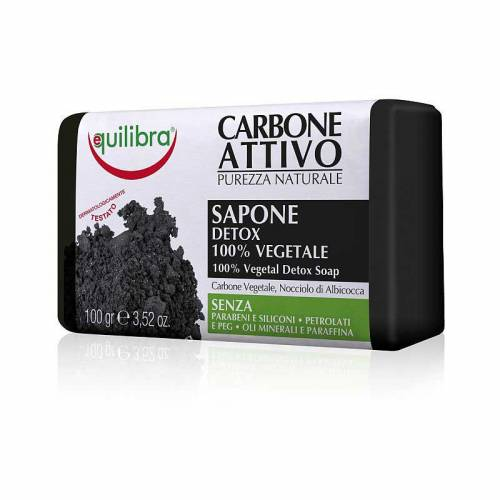 Roślinne mydło oczyszczające z aktywny węglem 100g Equilibra