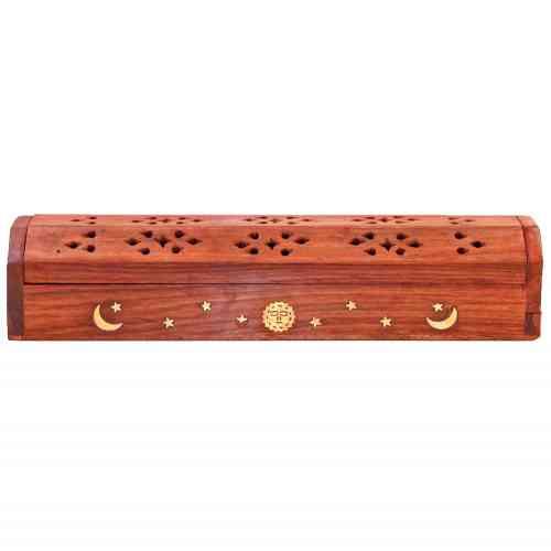 Drewniana podstawka piórnik do kadzideł z motywem słońce, księżyc, gwiazdki 12''
