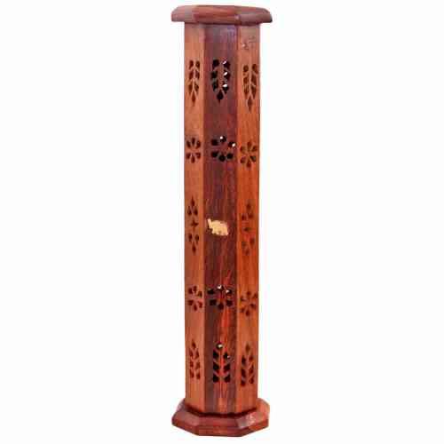 Drewniana stojąca podstawka do kadzidła w kształcie sześciokątnej wieży