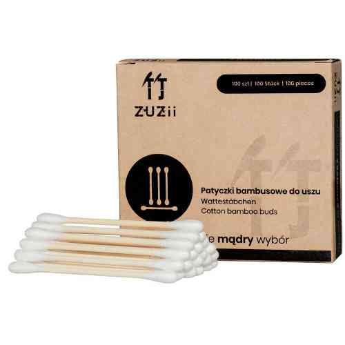 Bambusowe PATYCZKI kosmetyczne z bawełną 100szt. Zuzii