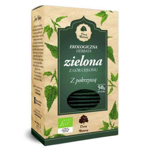 Ekologiczna herbata zielona z pokrzywą 25x2g Dary Natury