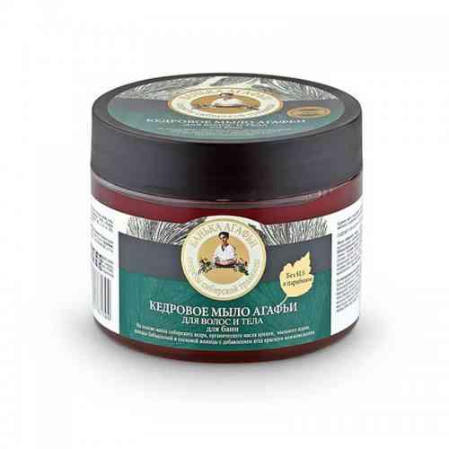 Mydło cedrowe do ciała i włosów, naturalne saponiny 300ml Bania Agafii