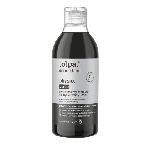 Płyn micelarny-tonik 2w1 do mycia twarzy i oczu 400ml Tołpa physio carbo