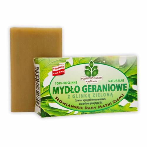 Roślinne mydło GERANIOWE z zieloną glinką 100g Powrót do Natury