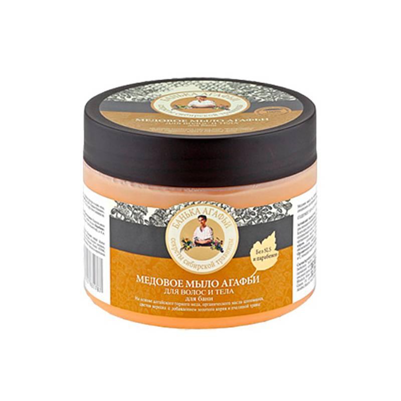 Mydło MIODOWE do ciała i włosów, naturalne saponiny 300ml Bania Agafii