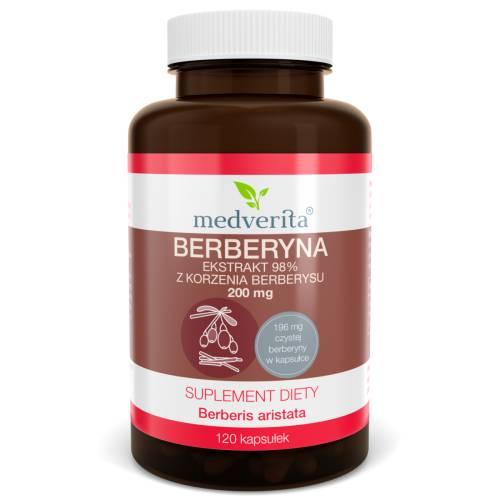 Berberyna ekstrakt 98% z korzenia berberysu 200 mg - 120 kapsułek Medverita