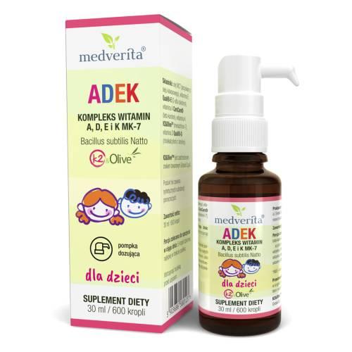 ADEK dla dzieci - kompleks witamin A, D, E i K MK-7 30ml/ 600 kropli Medverita