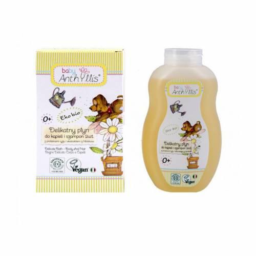 Delikatny płyn do kąpieli i szampon 2 w 1, proteiny ryżu, ekstrakt z hibiskusa 400ml Pierpaoli Baby Anthyllis
