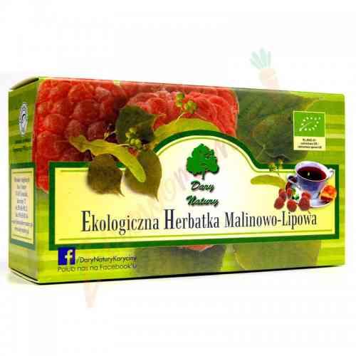 Herbata lipowo-malinowa ekologiczna 20x2,5g Dary Natury