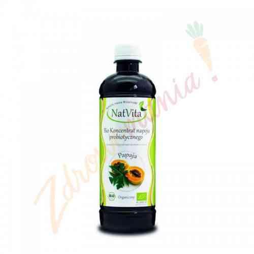 Organiczny koncentrat napoju probiotycznego Papaja i Yerba Mate NatVita