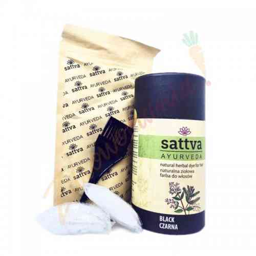 HENNA - naturalna ziołowa farba do włosów - CZERŃ 150 G sattva AYURVEDA
