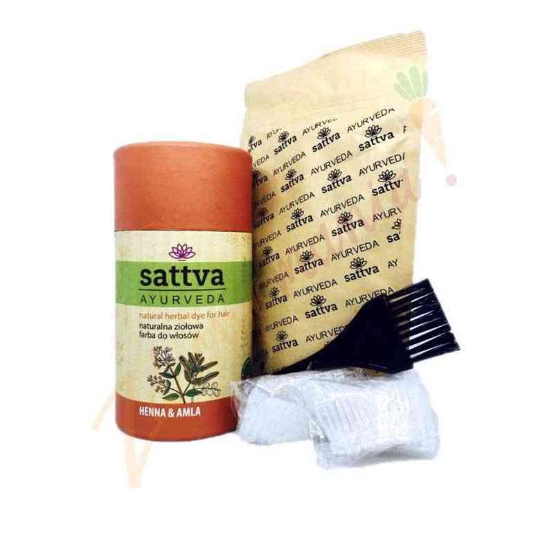 HENNA - naturalna ziołowa farba do włosów - Z AMLĄ 150 g sattva AYURVEDA