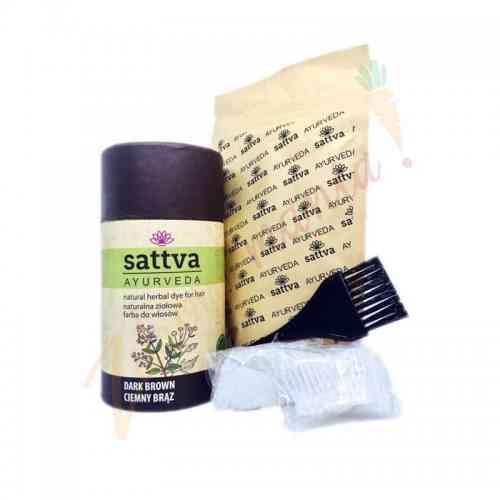 HENNA - naturalna ziołowa farba do włosów - CIEMNY BRĄZ 150 g sattva AYURVEDA