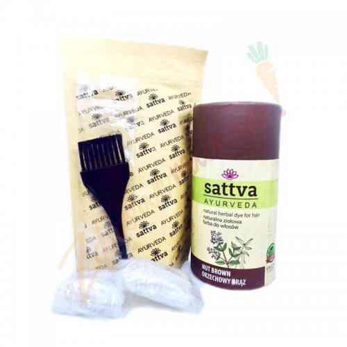HENNA - naturalna ziołowa farba do włosów - ORZECHOWY BRĄZ 150 g sattva AYURVEDA