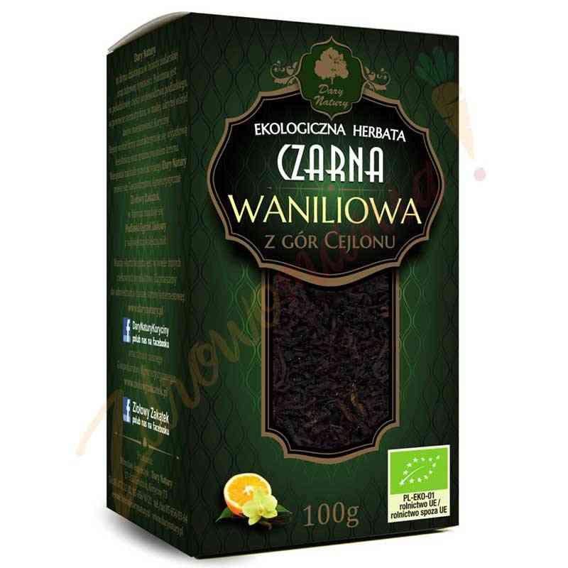 Herbata czarna cejlońska Z PRAWDZIWĄ WANILIĄ ekologiczna 100 g Dary Natury