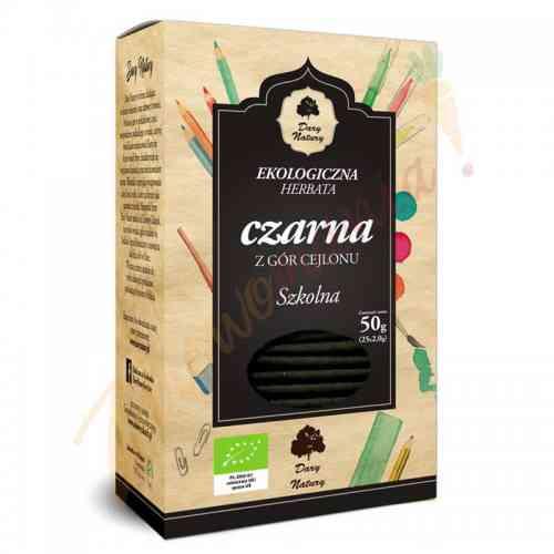 Herbata czarna cejlońska SZKOLNA ekologiczna 25x2g Dary Natury