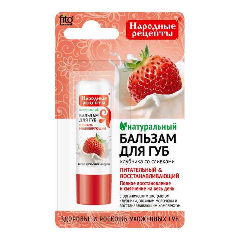 Organiczny balsam do ust 4,5g TRUSKAWKI ZE ŚMIETANKĄ Fitokosmetik Przepisy Ludowe